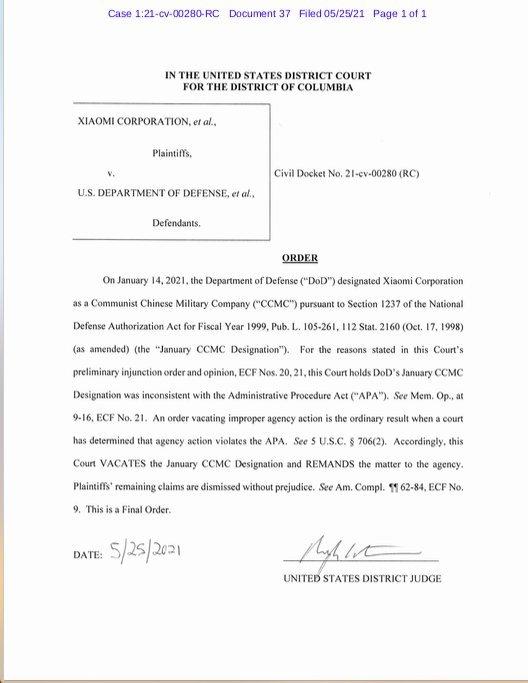 Phán quyết chính thức từ Tòa án Quận Columbia.